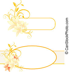 Frames with lilies and floral ornament. Vector illustration