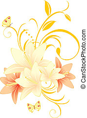 Lilies with floral ornament