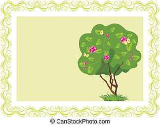 Stylized tree in the frame - Stylized flowering tree with...