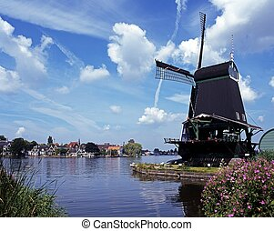 Windmill, Zaanse Schans, Holland - Windmill with Dutch...