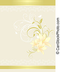 Lilies with floral ornament. Card