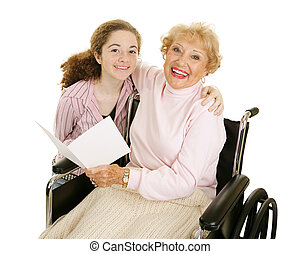Grandmas Greeting Card - Teen girl gives greeting card to...