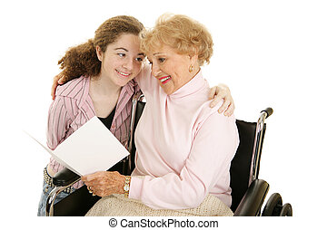 Greeting for Grandma - Grandmother and teen girl reading a...