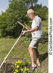 Repairing wooden rake in the garden