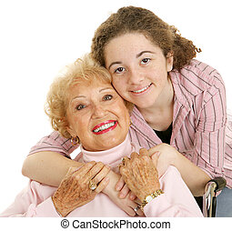 I Love My Grandma - Portrait of loving grandmother and...