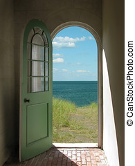 Arched Doorway to Beach - Arched doorway opening onto a...