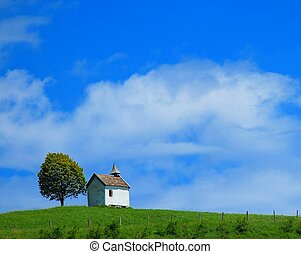 Quaint little chapel on lush hilltop - Quaint little chapel...