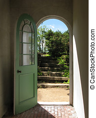 Arched Doorway to Garden Stairs - Arched doorway opening on...