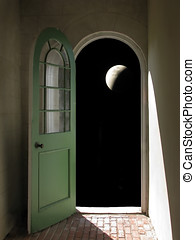 Arched Doorway to Night Sky - Arched doorway opening on...
