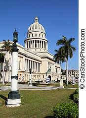 Havana, Cuba - city architecture. Famous National Capitol...