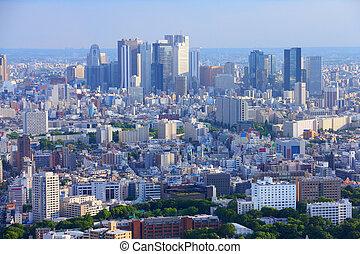 Tokyo, Japan - aerial view of Shinjuku district. Modern city...