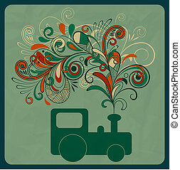 vector eco concept with asteam train and floral pattern instead of smoke, crumpled paper texture,  eps 10, mesh