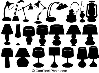 Lamps  - Set of different black lamps on white background