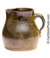Antique clay Depression-era jug or pitcher