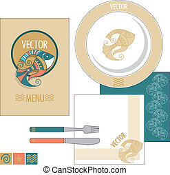 vector restaurant set with fish