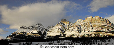 Canadian Rockies Panorama - A bright Panoramic picture of...