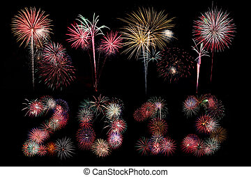 The year 2013 written in fireworks below bursts - Multiple...