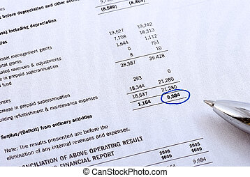 financial report - Financial report and pen. Cooling filter...