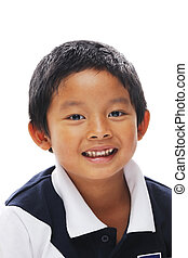 Filipino Boy Smiling - Asian boy looking at camera and...