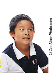 Filipino boy happy - Asian boy wearing philippines flag on...