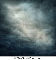 Dark clouds and rain - Dark stormy clouds and rain