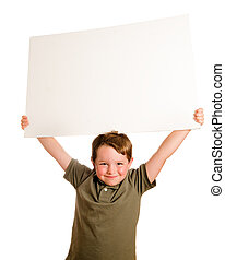 Child holding blank sign