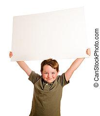 criança, segurando, em branco, sinal