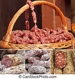 collage with images of sausages on market