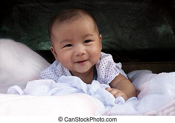 twarz, nowy, urodzony, noworodek, łóżko