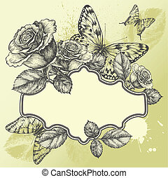 Vintage frame with blooming roses and butterflies,...