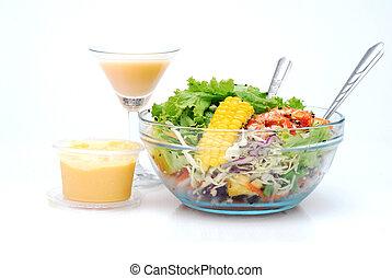 salad set on white background