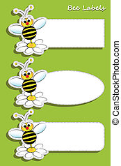 Bee and daisy, set of three labels