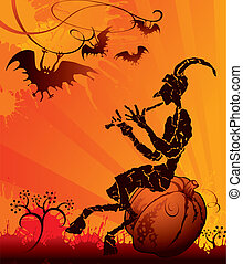 Halloween party card with evil
