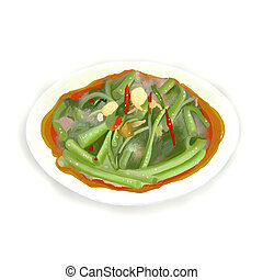 Stir Fried Morning Glory (Pad Pak Boong) is a healthy and...