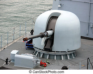 German Navy Ship - portrait of gun on german navy ship