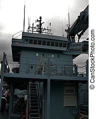 German Navy Ship - portrait of german navy ship in ocean