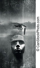 Fantasy time and mind - Fantasy background with dummy head...