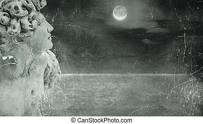 Poetic fantasy background - A fantasy statue in a peeling...