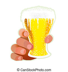 Hands with glass of beer - Hands with mugs of beer on white...