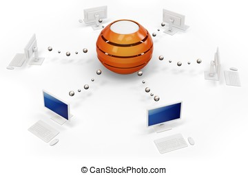 3d computer network with central hub server on white...