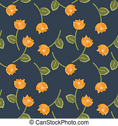 Orange flowers - Floral seamless orange flowers pattern