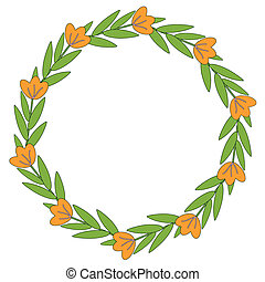 Orange flowers decorative frame