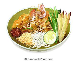 Pad Thai Noodles with Shrimps - Pad Thai is a Dish of Stir...