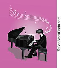 鋼琴, 鋼琴家, 玩, 人