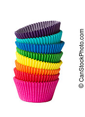 Cupcake cases - Stack of colorful cupcake cases