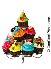 Cupcake stand - Colorful cupcakes on a cakestand