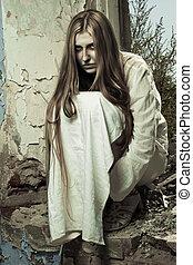 zombie, menina, sentando, abandonado, predios