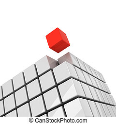 red cube getting detached concept