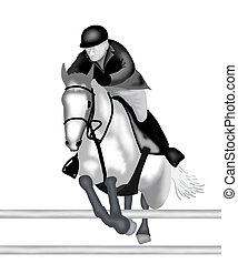 A Professional Equestrian Jumping with Horse Over Oxer...