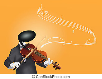 Violinist Man playing Violin with Musical Notes and Sound...